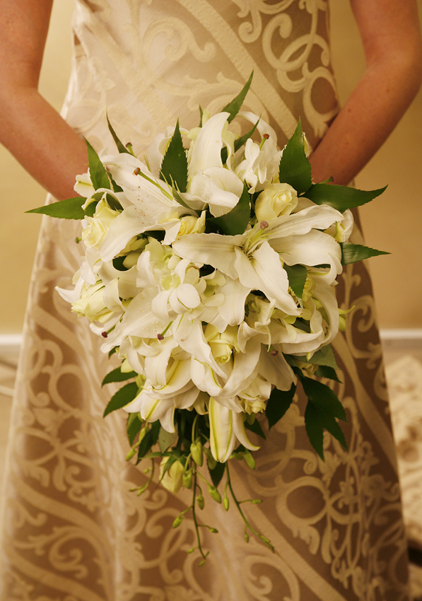 Oriental Lilies and White Roses Bouquet