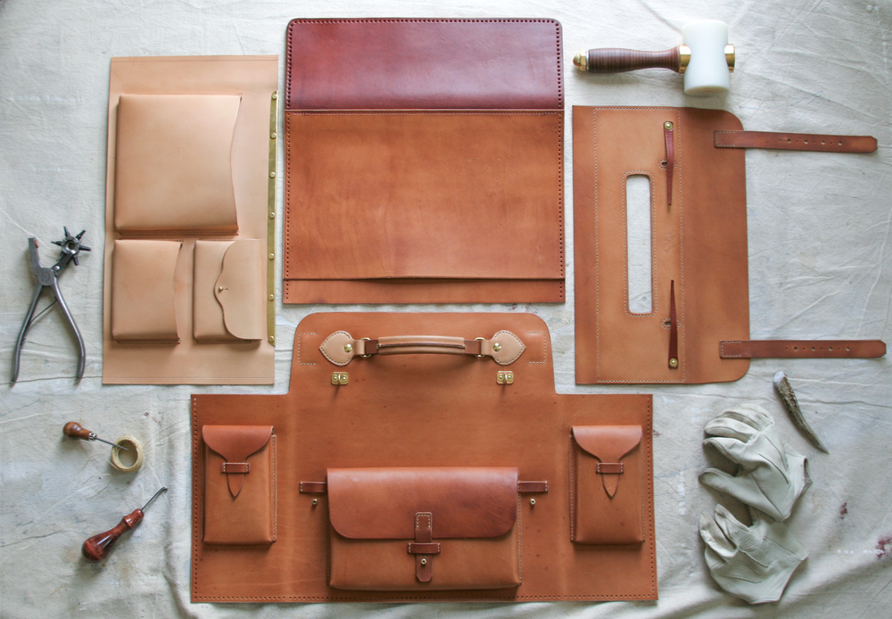 "Working on the biggest item yet here at Westward; The ""Mil-spec"" Briefcase draws inspiration from numerous WWII military bags from several different countries, all custom hardwares with leather from Italy, the US, and Belgium."
