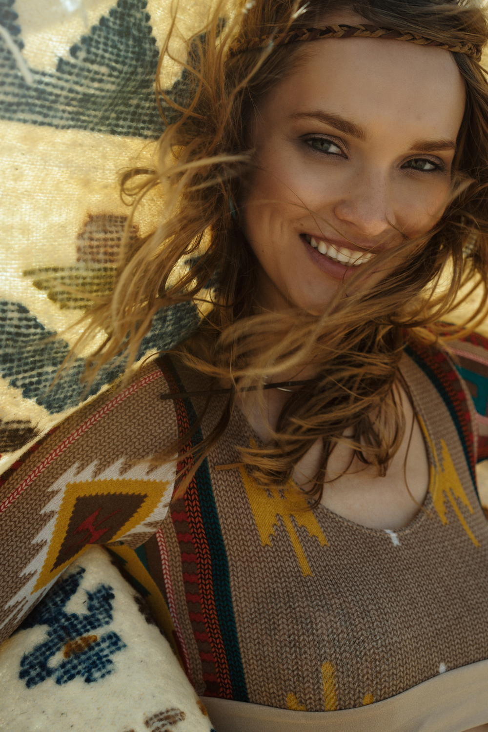Muheeka Long Sleeve Crop Top in Navajo Print   Photo Maximilian Rivera