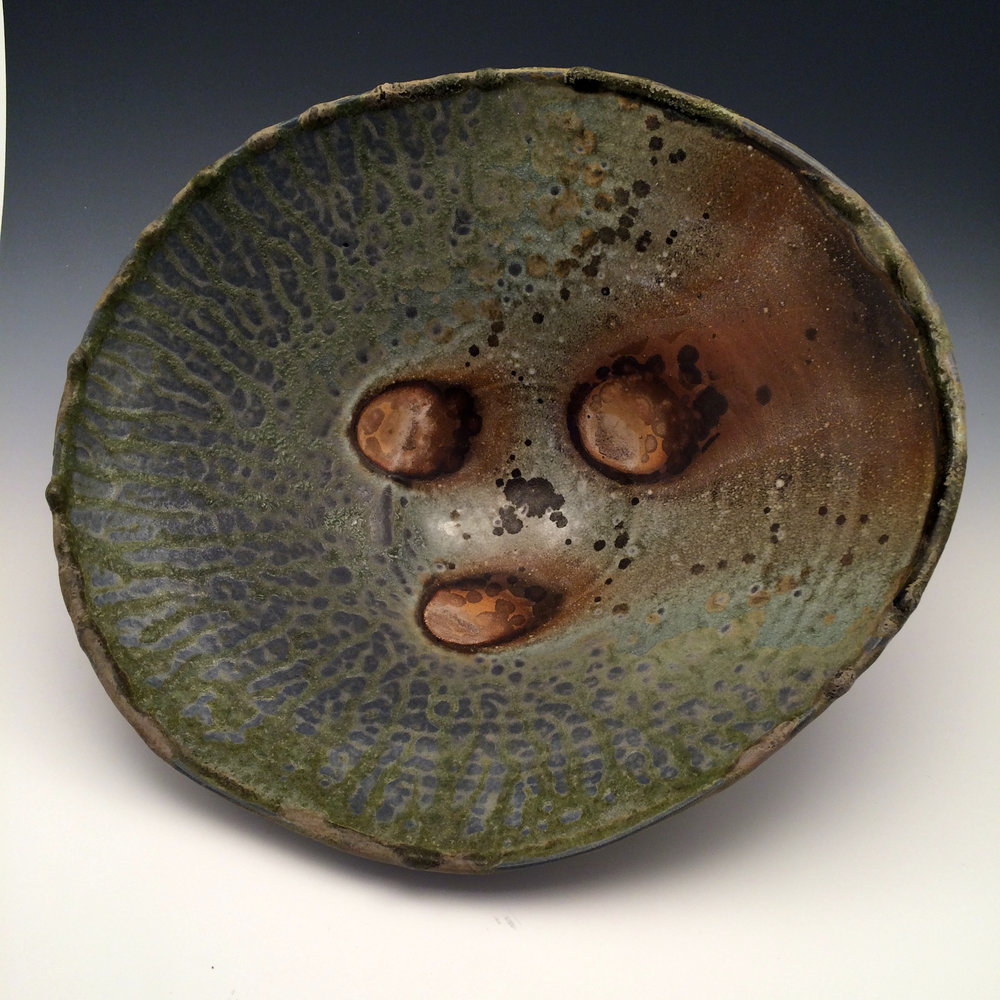 SERVING BOWL 12 X 12 X 6 WOOD FIRED FOR 5 DAYS USING WHITE PINE AND COTTONWOOD, PORCELAIN $185