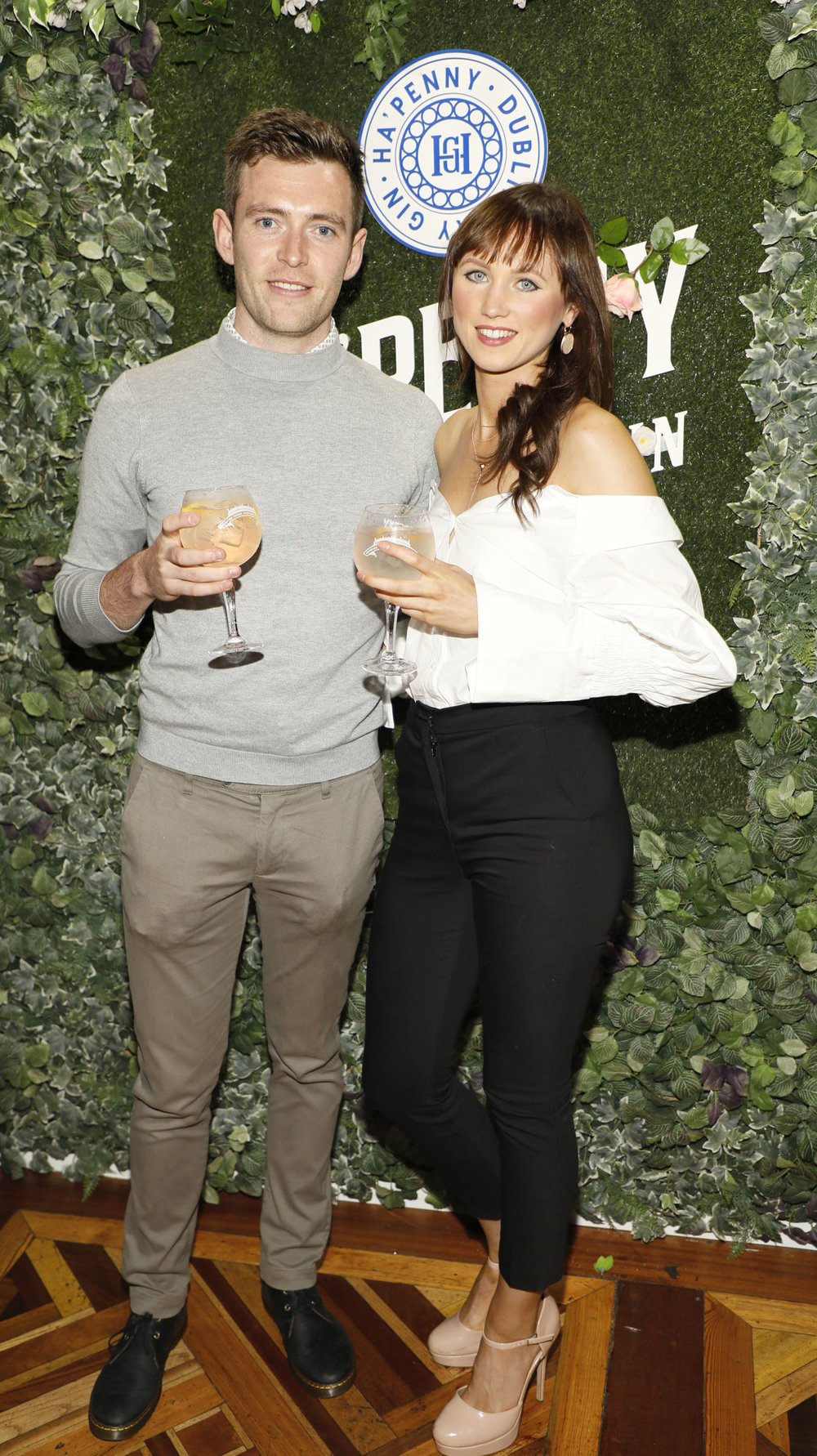 Aaron Buggle and Edel Broderick at the launch of the Ha'penny Spirits range.jpg