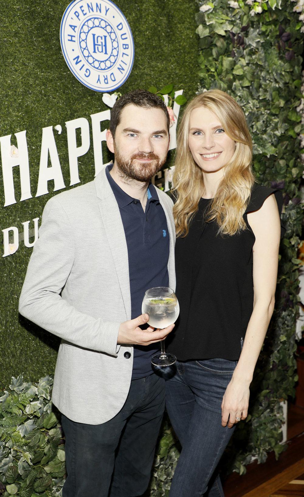 John and Agneta Crean at the launch of the Ha'penny Spirits range.jpg