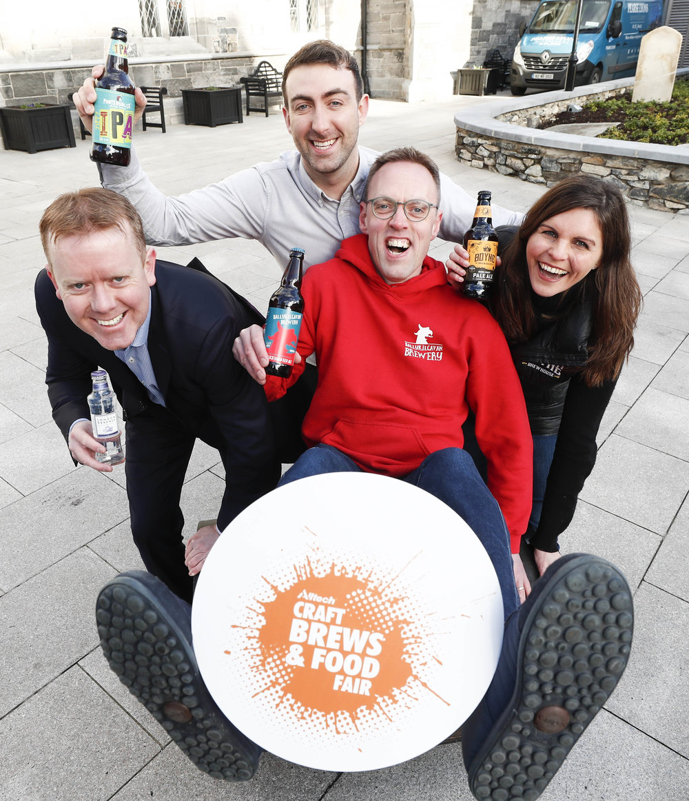 Shane Crowe, London Essence; Fionn Cahill, Porterhouse Brewing Company, David Walsh-Kemmis, Ballykilcavan Brewery and Sally-Anne Cooney, Boyne Brewhouse today launched the Alltech Craft Brews and Food Fair, Ireland's largest craft drinks gathering which returns to the Convention Centre Dublin from 14th-16th March as part of the St. Patrick's Festival 2019