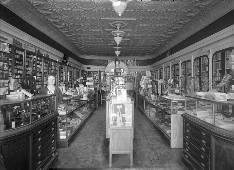 Interior of Tuttle Drug Store.
