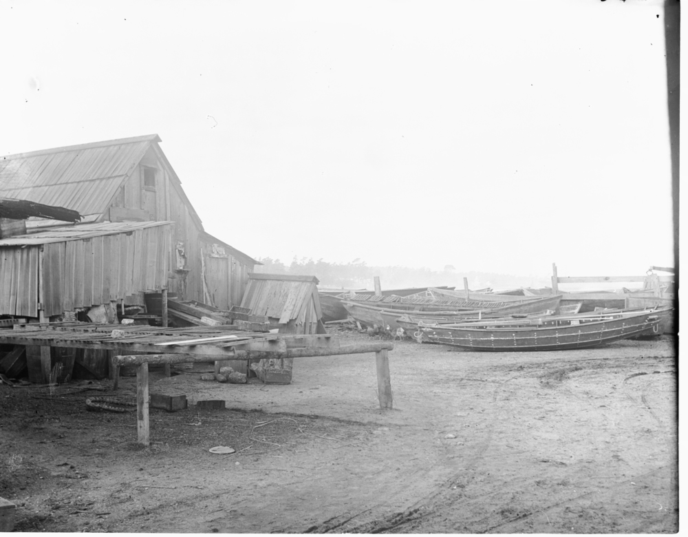 Wooden buildings at Chinese village, which was located near current site of Hopkins Marine Station (also known as Point Cabrillo and China Point) until 1906.