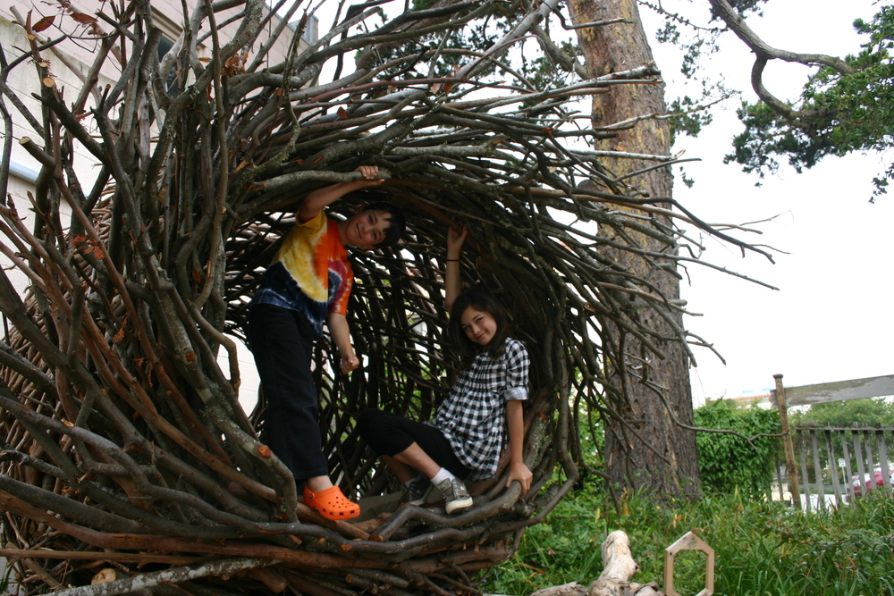 The Museum's Spirit Nest was brought into the garden using a crane.
