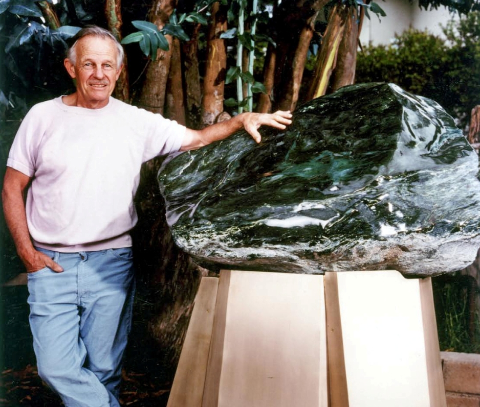 Artist Don Wobber and the jade boulder, Leucothea