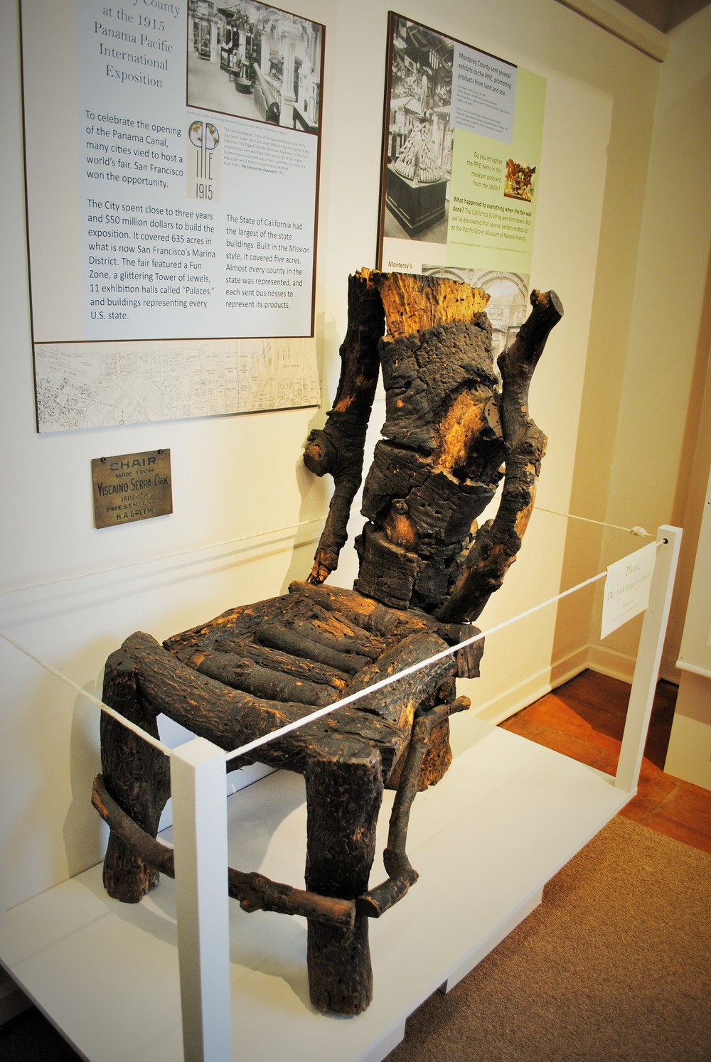 The Serra Chair on display at the Pacific Grove Museum of Natural History.