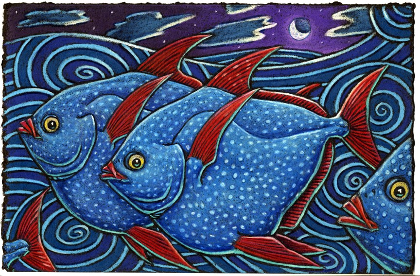 The Opah sure makes my heart swoon    As it darts about under the moon    Oh I like them allot    With their wild polka dots    And red fins like a crazy cartoon.