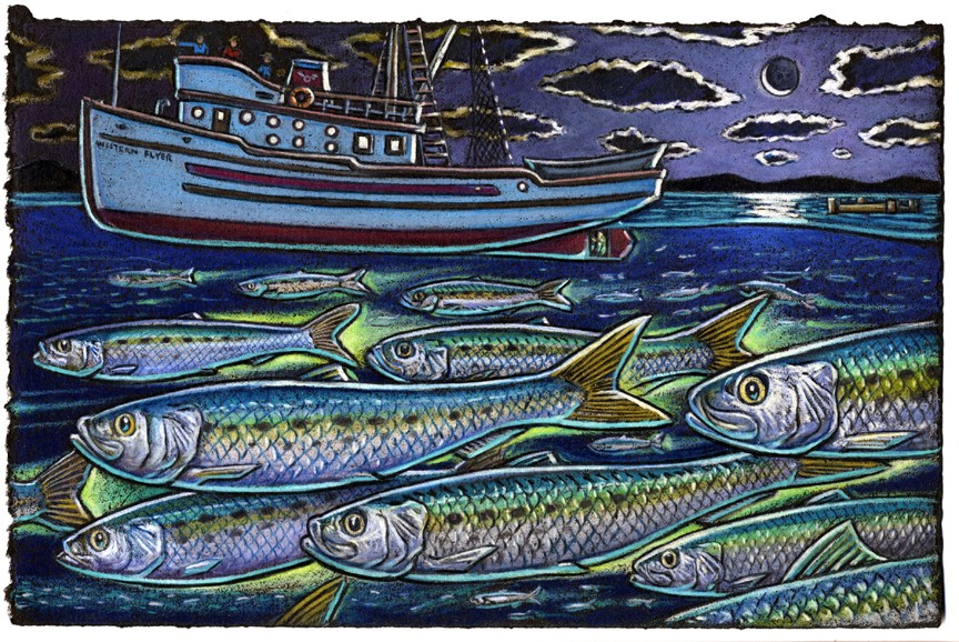 I sometimes think of glowing sardines    Swimming about like old Hollywood scenes    With Doc Ricketts and Steinbeck    Looking down from the top deck    Of the Western Flyer, sailing on in my dreams.