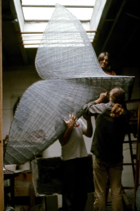 "Sandy's tail in fabrication.  ""A whale's tail is quite a beautiful structure in my eyes"" - Larry Foster."