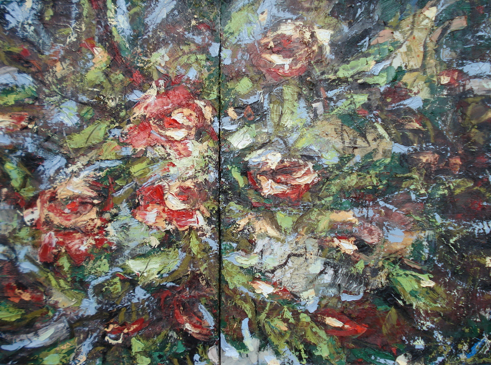 "Rose Bed , oil on canvas 48""H X 66""W Park Towne Place Collection"