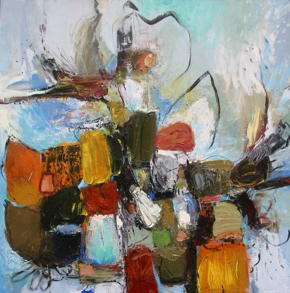 "Babel,  oil on canvas, 58""H X 56""W, 2008"