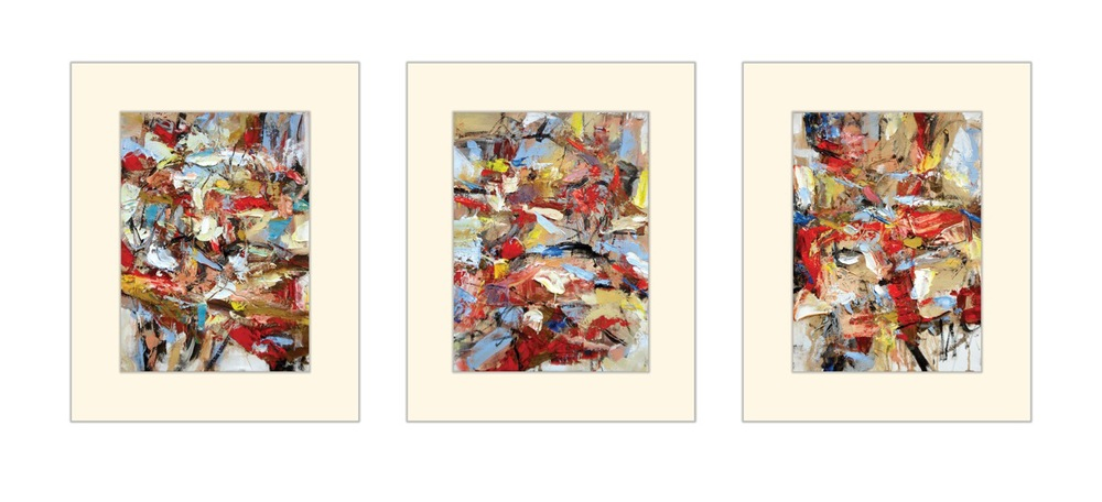 "Suite No. 1  (Small Paintings 14-A, 15-A, 16-A) oil on paper, 16""H X 12""W each"