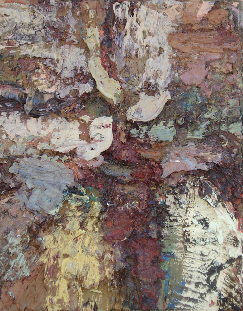 "Sedimentary Rock Formation  oil on paper, 16""H X 12""W, 2014"