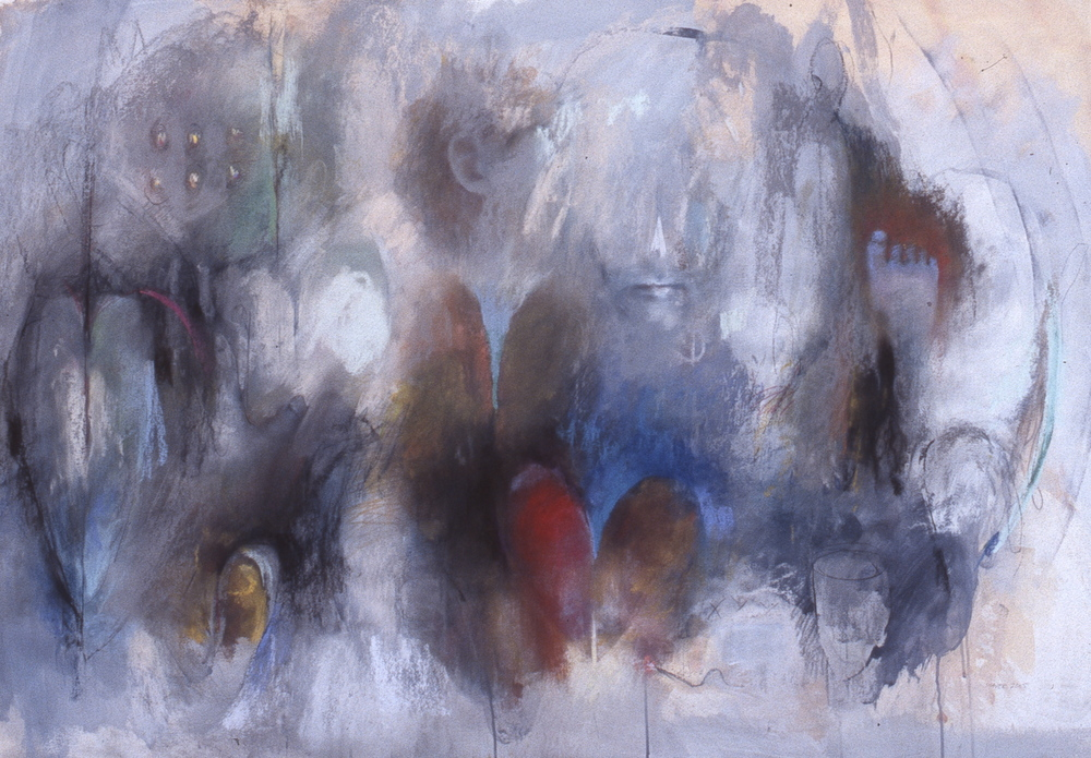 """Broken , charcoal and pastel 42""""H X 60""""W, 2005 Private Collection"""