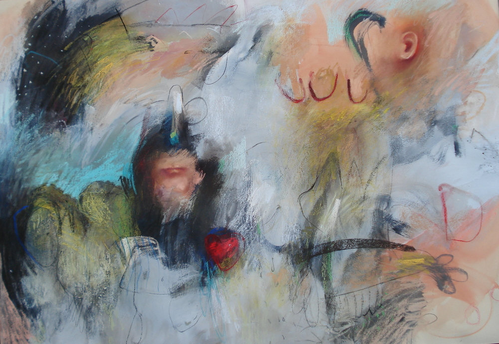 """Conversation , pastel and charcoal 45""""H X 62""""W, 2005 Private Collection"""
