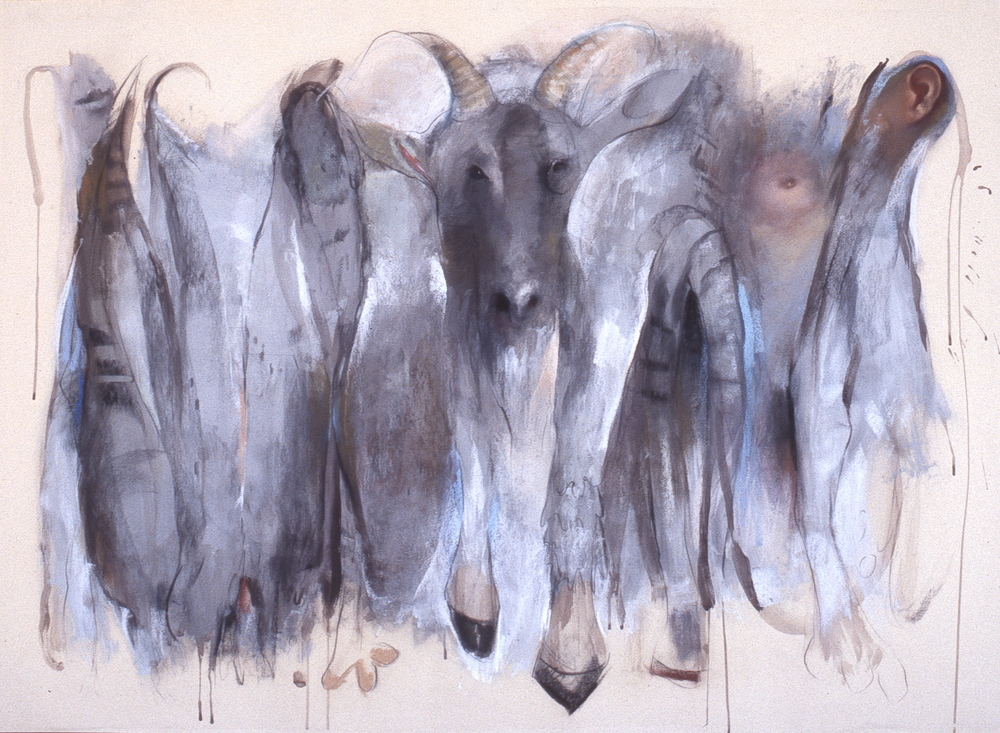 """Offering , charcoal and pastel 43'H X 59""""W, 2005"""
