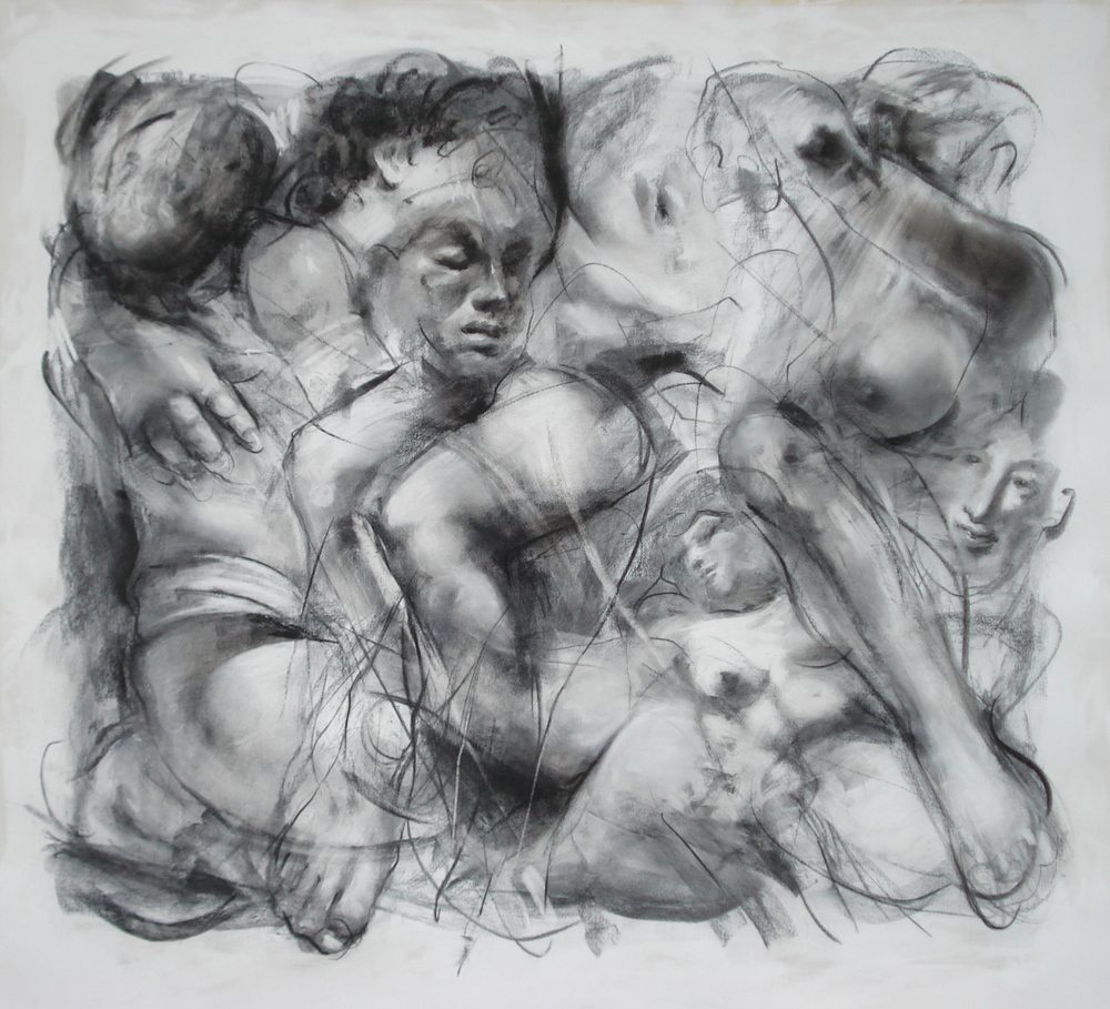 "Passion , charcoal 54""H X 56 1/2"" W, 2012"