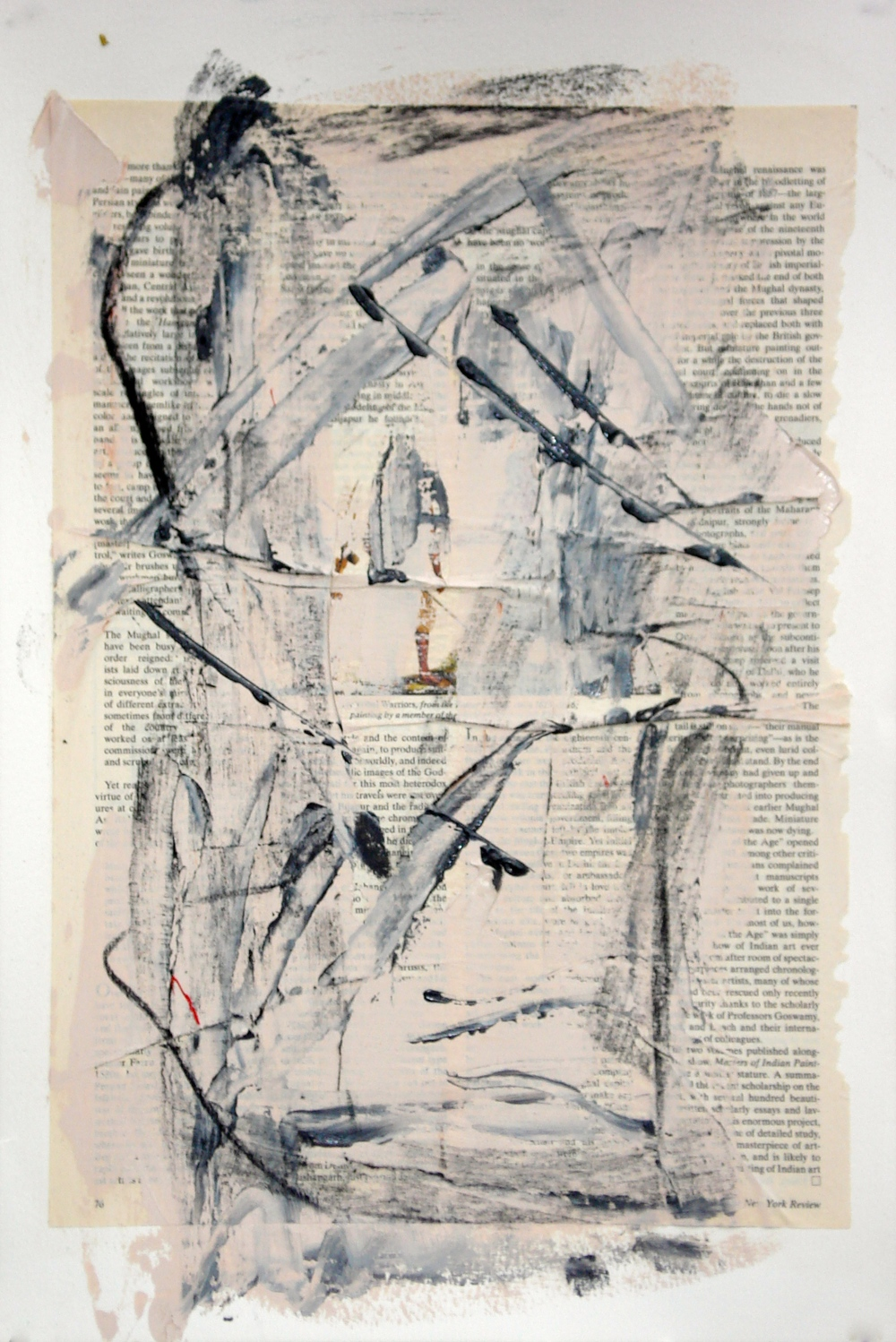 "Reading Lesson No. 14 (Legs)  oil and collage on paper 18""H X 12""W"