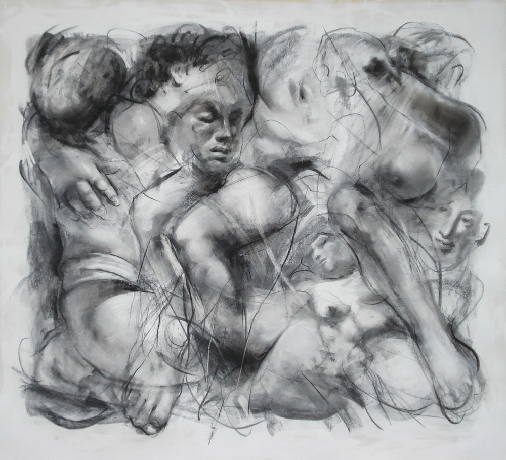 "Passion , charcoal  54""H X 56 1/2""W, 2012"