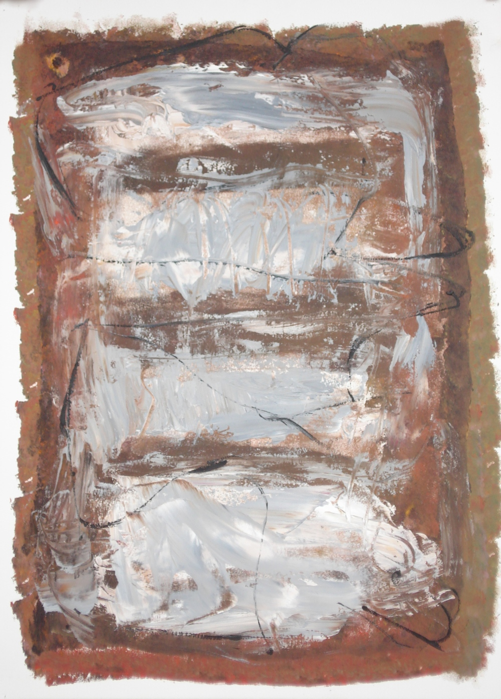"Build-Up  oil on paper, 30""H X 22""W (2015)"