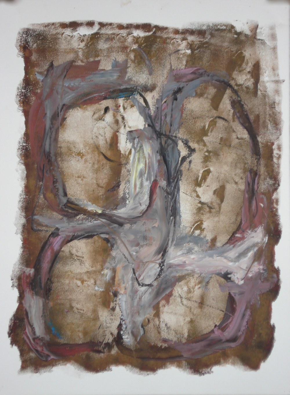 "Four Eggs  oil on paper, 30""H X 22""W"