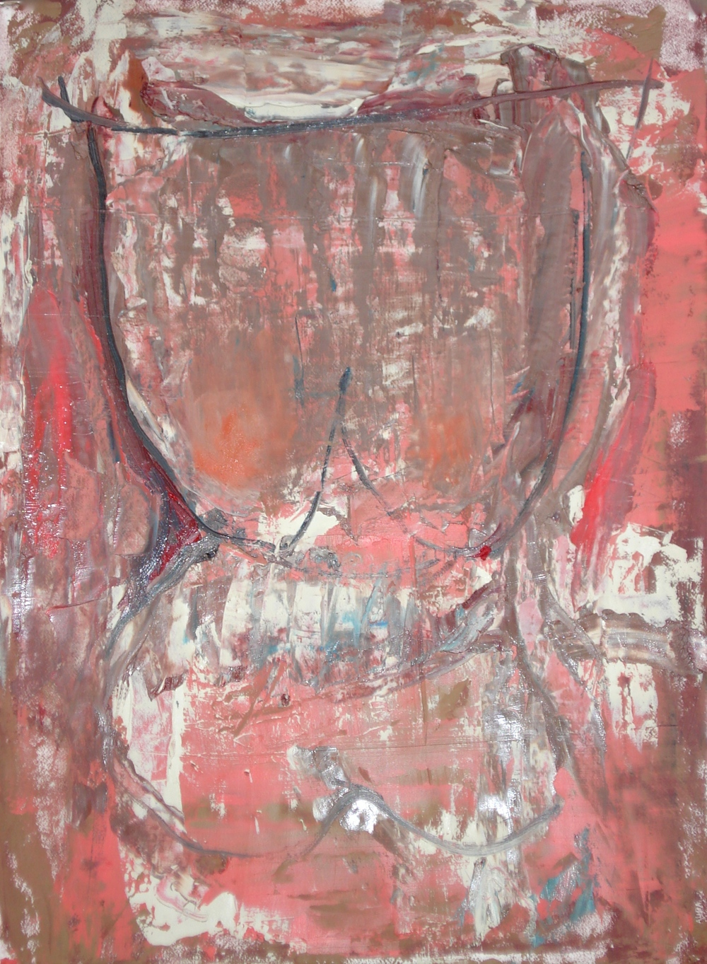 "Body of work Series (Pink Chest)  oil on paper, 30""H X 22""W, 2015"
