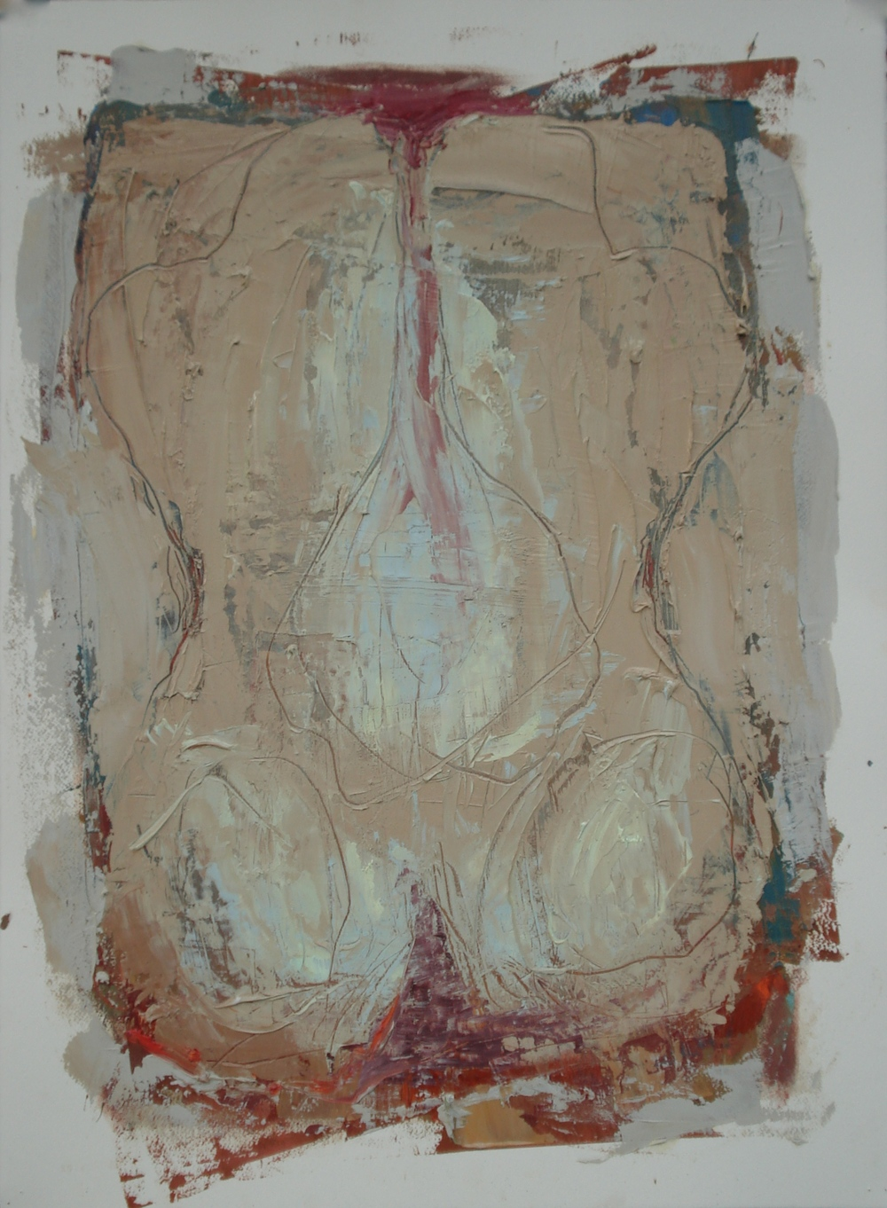 "Body of Work Series (Buttocks)  oil on paper, 30""H X 22""W (2015)"