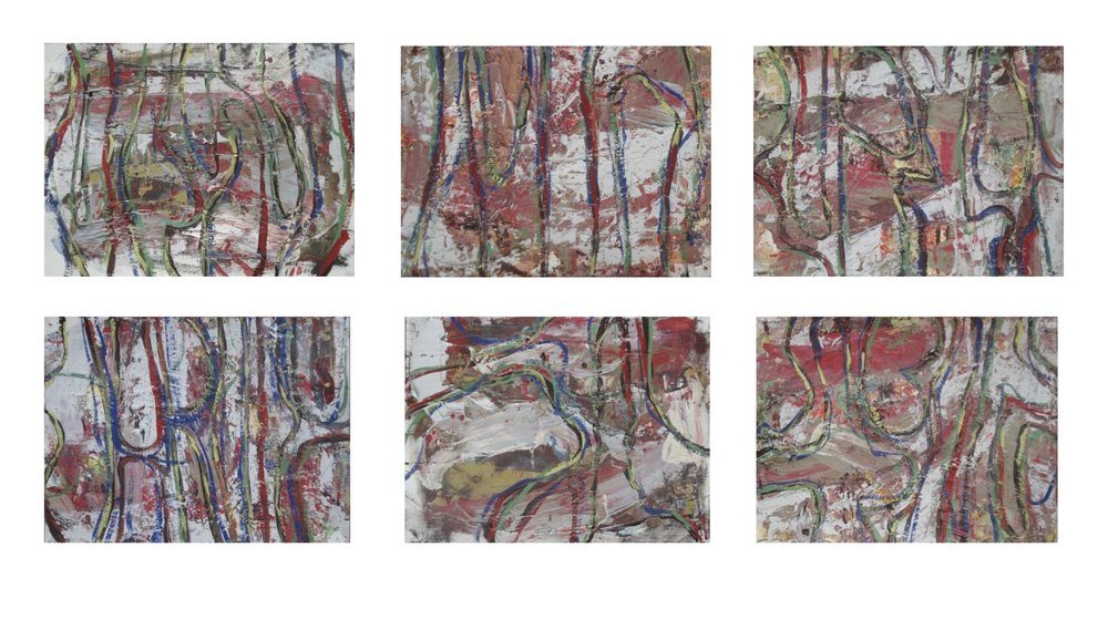 "Loops, No. 1, 2, 3, 5, & 6,  oil on paper each image 12""H X 16""W 3 framed pieces, each 32""H X 20""W"