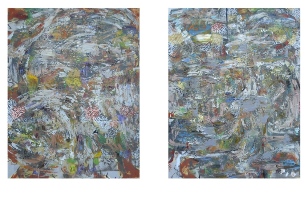 "Garden Party Diptych,  oil on canvas 2 canvases, each 62""H X 48""W"