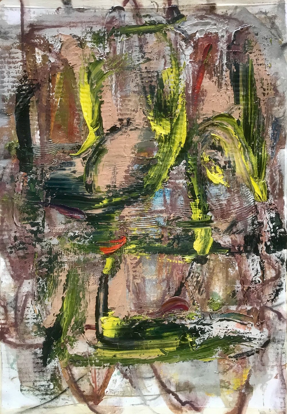 "Small Painting 23C, oil on Evolon paper 30""H X 22""W, 2018  View and purchase work in the Iartview app, gallery code jmohxj"
