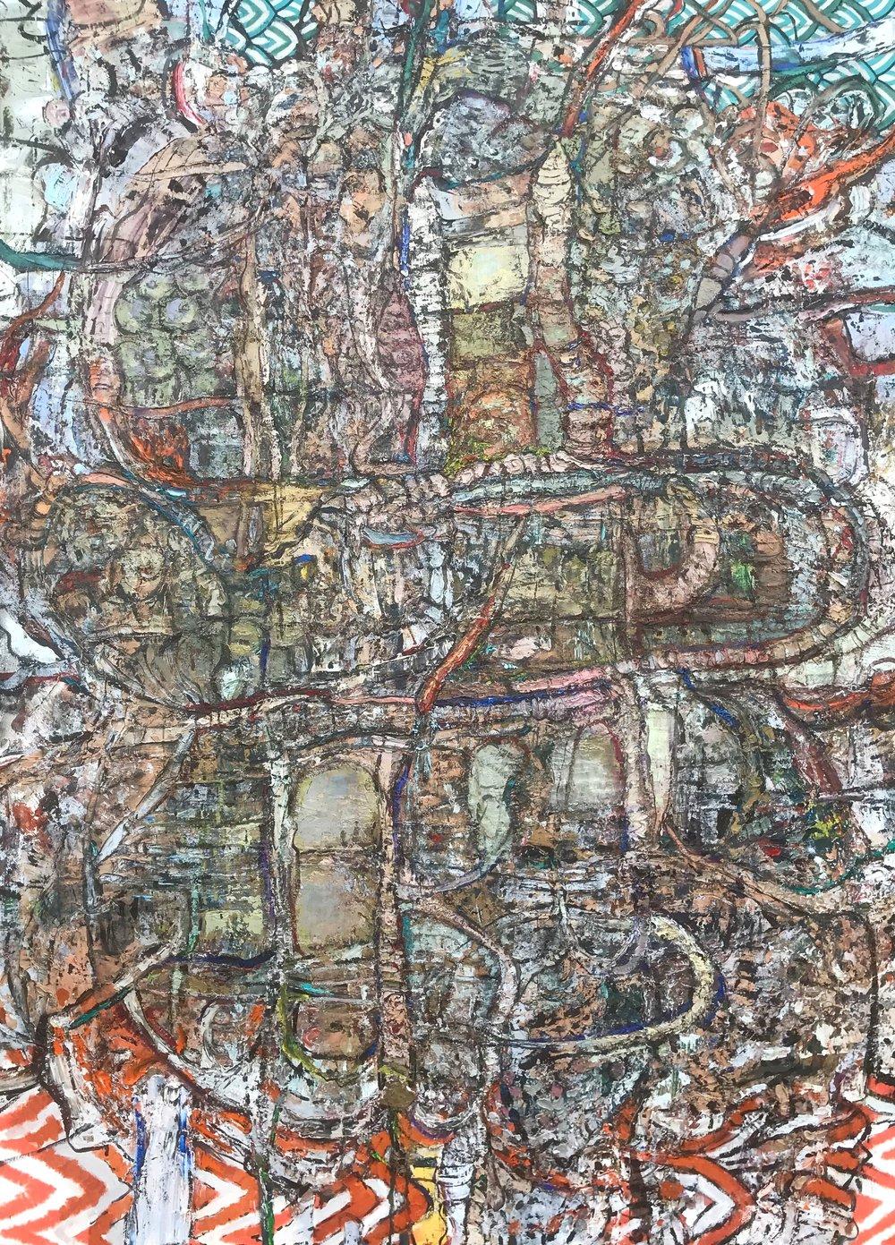 "Freeway , oil on canvas 72""HX 52""W, 2018"