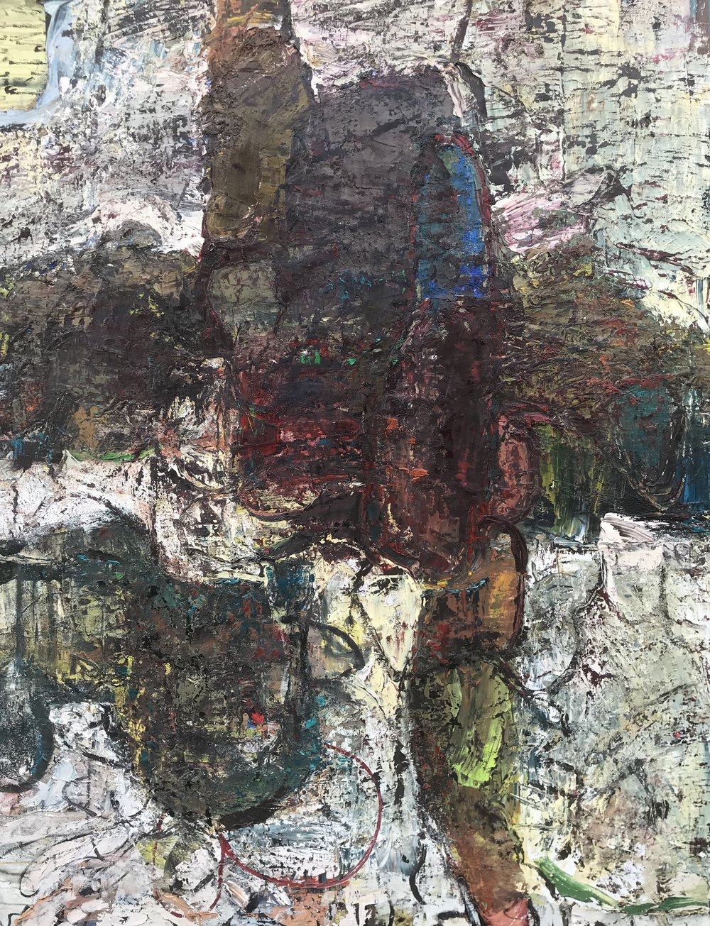 "Hard Rain,  oil on canvas 72""H X 56""W (2018)"