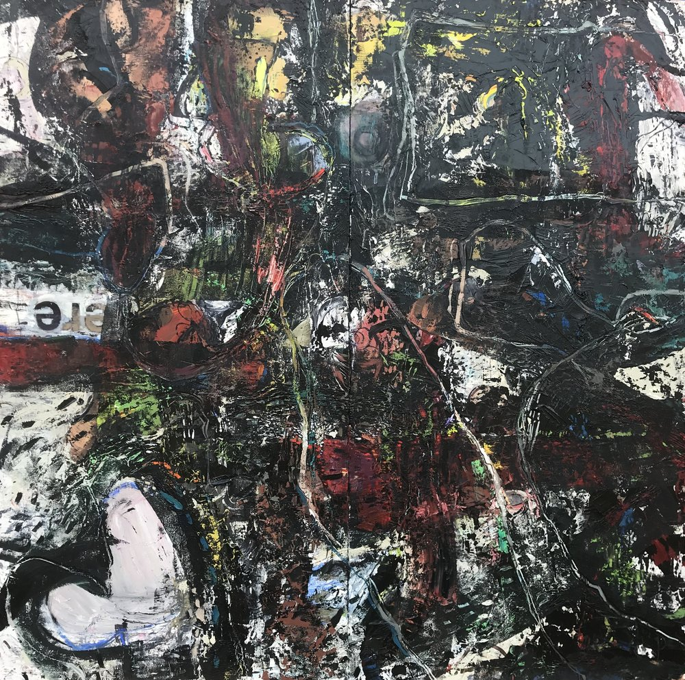 "Click Here,  oil on panel 72""H X 72""W diptych (2019)"