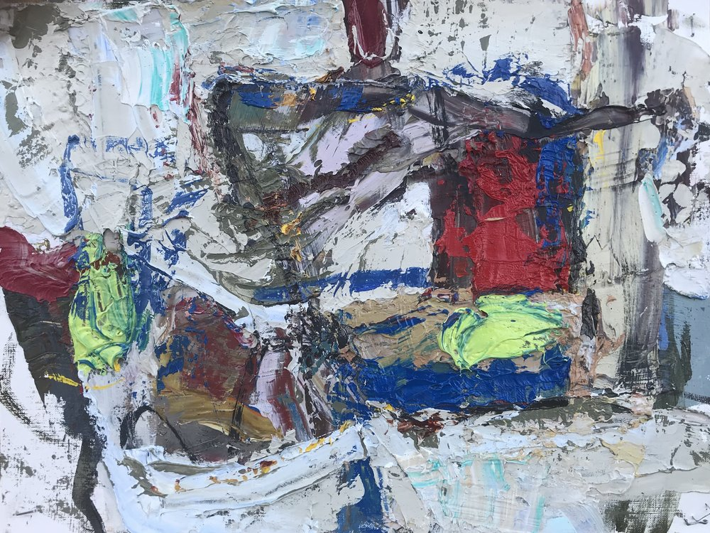 "Small Painting 71A,  oil on paper 9""H X 12""W (2019)"