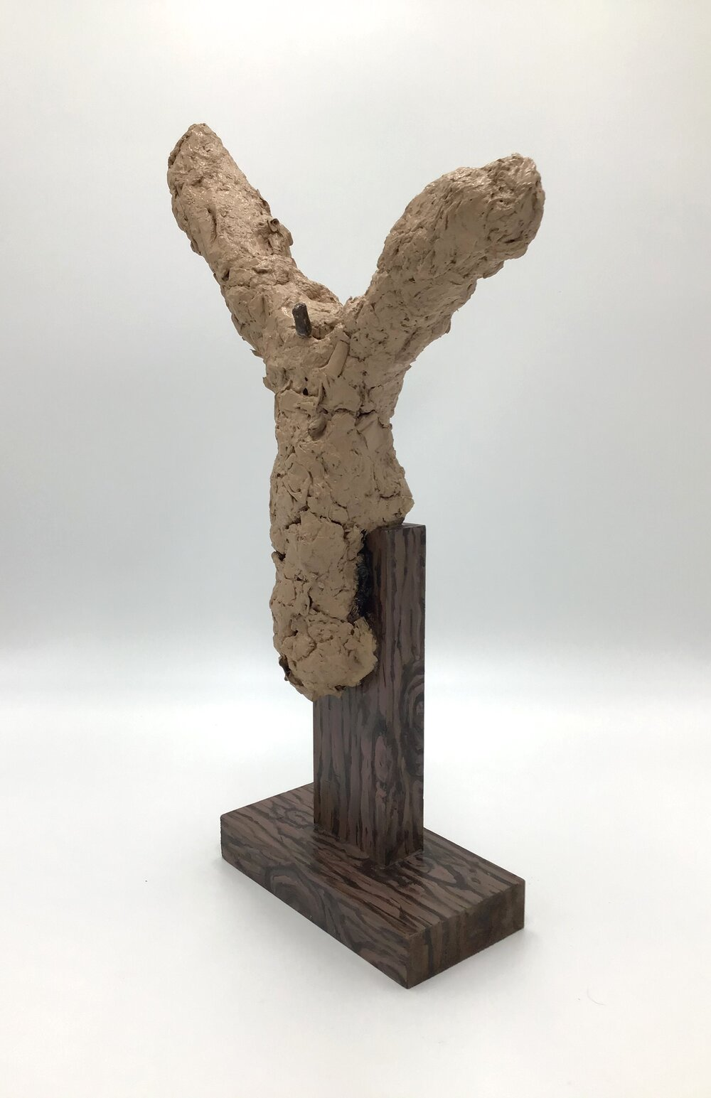 "Crucifixion   paper mache, wood, acrylic paint 18.5""H X 3.5""W X 12""L (2018)"