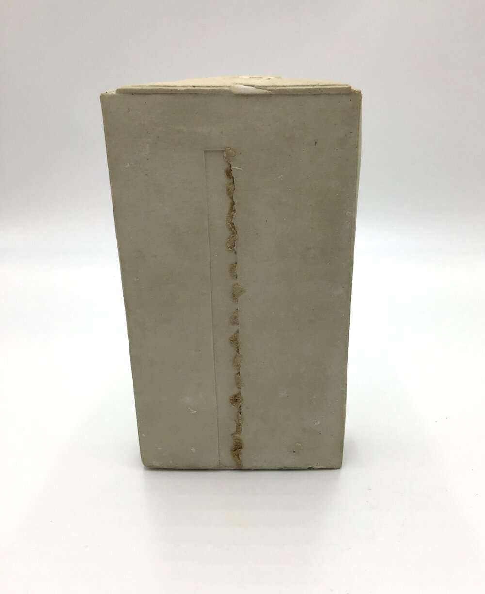 "Center Cut,  plaster and cardboard 8.5"" high X 5"" long X 2"" wide (2019)"