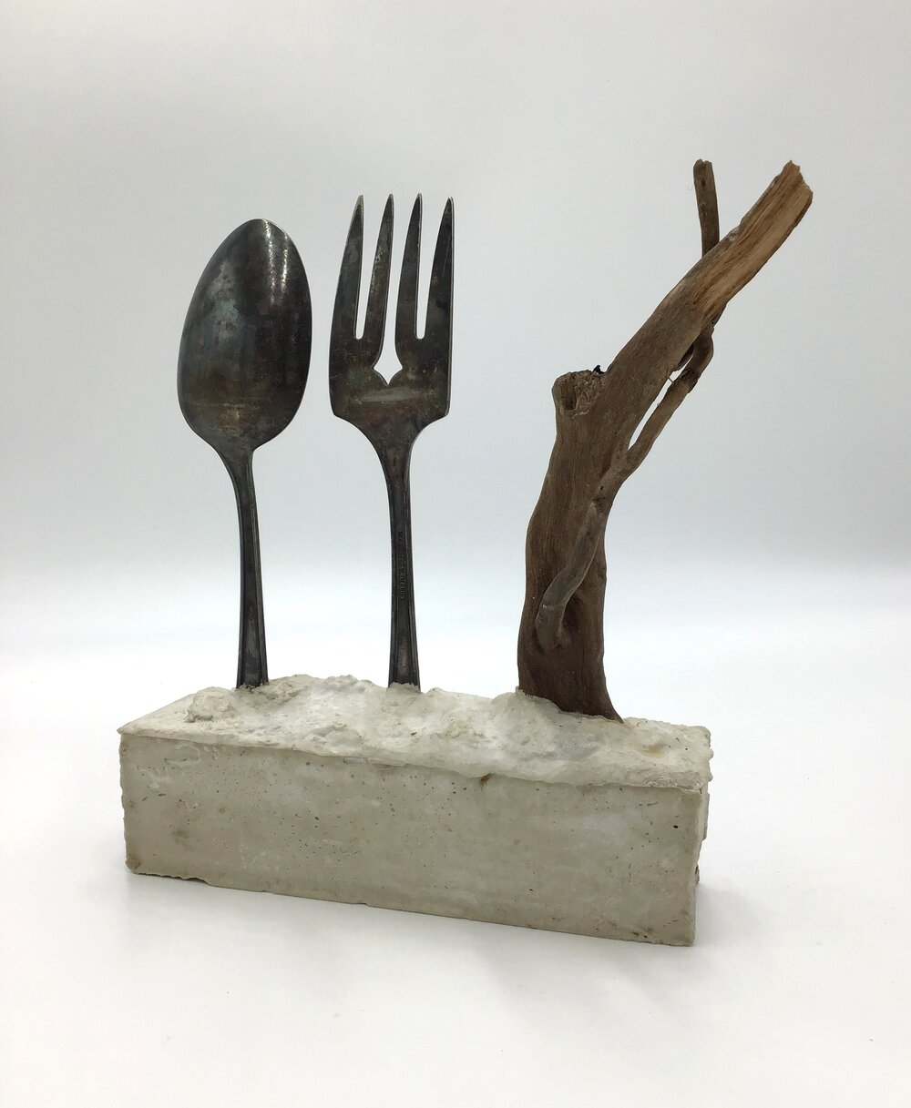 "Dinner Time,  plaster, silver and wood 9.5"" high X 7.5"" long X 2"" wide (2019)"