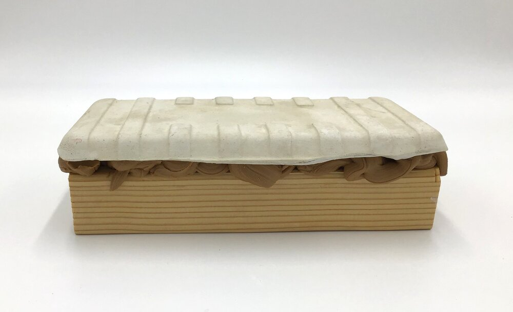 "Sandwich,  plaster, wood, wood caulk 2 3/4"" high X 9"" long X 5"" wide (2019)"