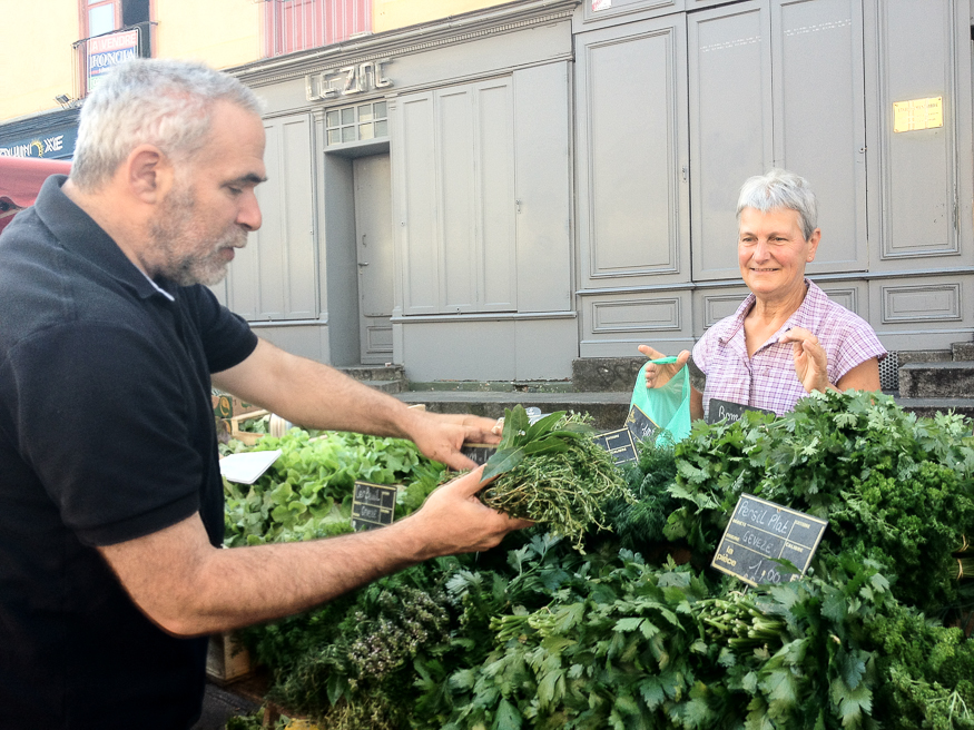 """The market's """"herb lady"""" sells an incredible variety of fresh herbs and salads"""
