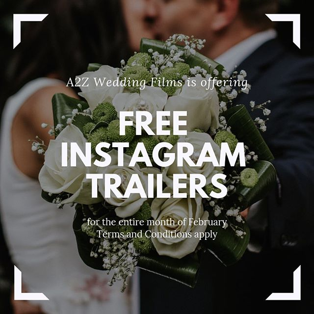 🚨FREE INSTAGRAM TRAILER🚨  For the entire month of February, A2Z Wedding Films is offering our Instagram Trailer add-on for FREE to any couple who books with us by February 28 @ 11:59PM CST. The Instagram trailer is a 30-60 sec stylized video that we deliver within 72 hours following your wedding day. This is perfect for the couple who wants to relive their wedding day while they are on their honeymoon. Contact us for more details! Link in Bio —  @a2zweddings_tx . . . #weddinggiveaway #weddingfilms #weddingtrailer #dallasweddings #weddingvideographer #weddingfilmmaker #weddingfilm #weddingfilmgiveaway