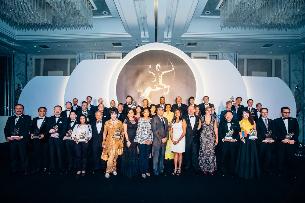 Forty-four Asians celebrating at Asia Corporate Excellence & Sustainability Awards 2016.