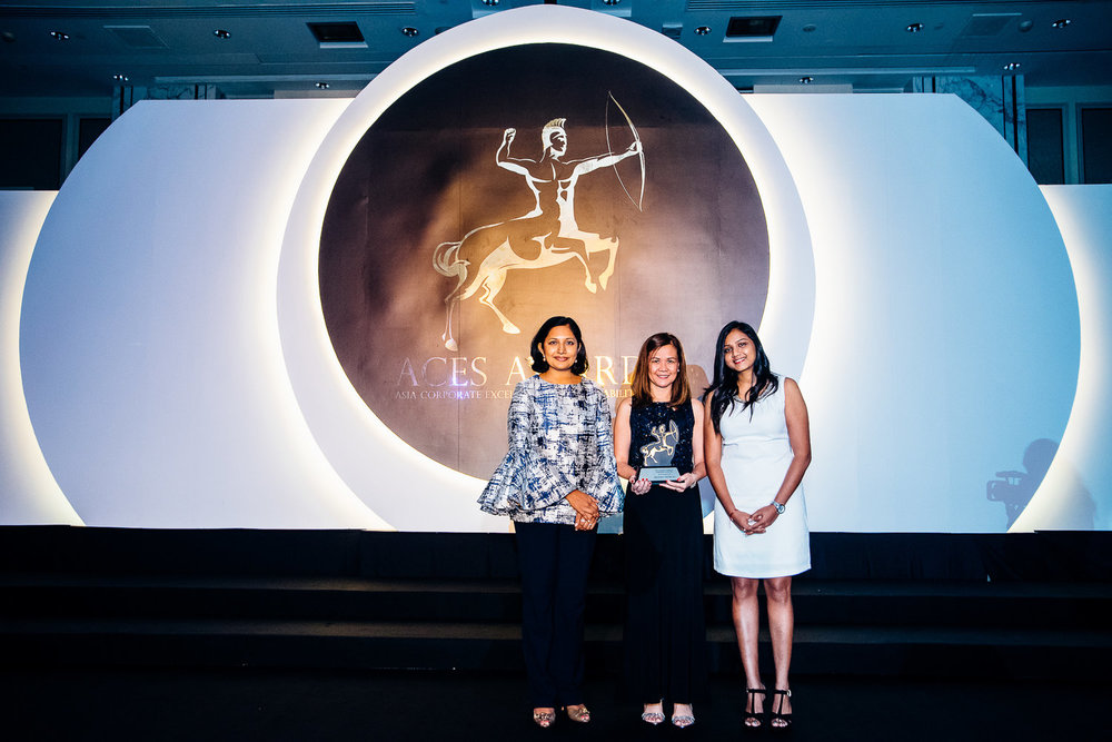 Top CSR Advocate. Aboitiz Equity Ventures Inc. (AEV) was recently named as one of Asia's Top CSR Advocates at the Asia Corporate Excellence & Sustainability Awards (ACES) 2016. Malou L. Marasigan, AEV VP for Reputation Management (center), received the award on behalf of the company. She was joined onstage by Dr. Jayanthi Desan (left) and Shanggari Balakrishnan, MORS Group CEO.