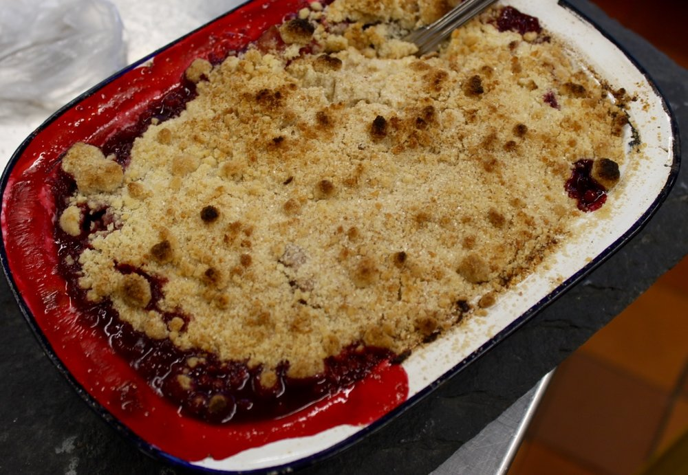 Winter berry crumble...enjoyed by the Leigh-Wood family for lunch the next day