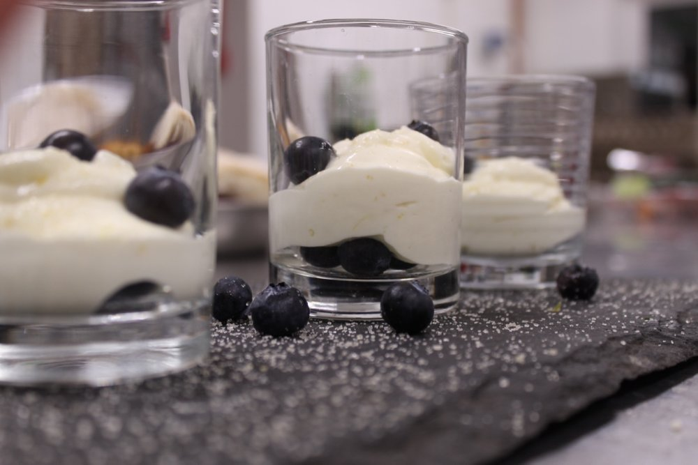 Lemon posset with blueberries - this tasted as tart and tangy as sorbet, incredible!