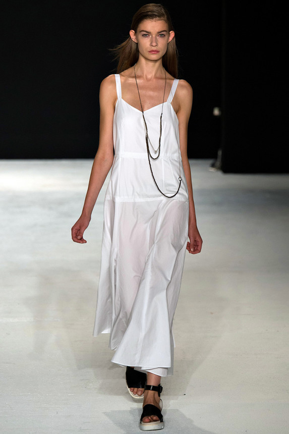 Rag & Bone     The simplicity of Rag & Bone is always appealing to me, and this long, white dress is no exception. Plus, the black accessories are a perfect touch!