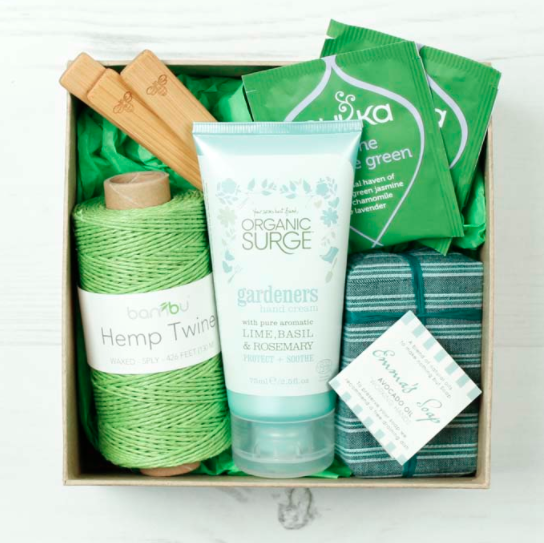 This box is perfect for your eco-friend with a green thumb! The set includes  Gardener's Hand Cream  that is 100% free of harsh chemicals, a natural & hydrating  Avocado Oil Hand Soap , waxed and eco-friendly  Hemp Twine ,  Bamboo Plant Markers  and 2 sachets of  Serene Jasmine Green Herbal Tea .