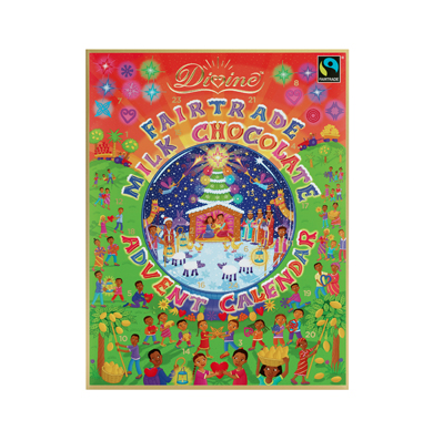"This Fair Trade Advent Calendar is perfect for little ones living in ethical households. Each door reveals a heart shaped chocolate and a illustration of a family farmer from around the world. Purchases also help fund ""literacy and income-generating projects for women cocoa farmers in Ghana!"""