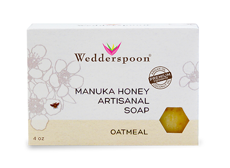 Wedderspoon has three flavors of Manuka Honey Artisanal Soap, including Oatmeal. Each of the Manuka soaps contain exfoliating beads that are therapeutic and leave the skin feeling soft and smooth until your next wash!
